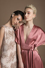 Maliha - peach lace and rose silk dresses
